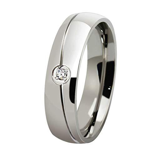Daesar Anillo 1PC Anillo Hombre Anillo Compromiso Acero Inoxidable Plata Blanco con Diamante de Imitacóns Sortijas Matrimonio Anillo Talla 30