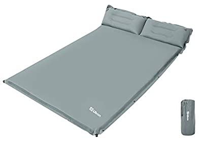 Ubon Double Self-Inflating Sleeping Pad Sleeping Mat for Camping with Pillows Attached Camp Sleep Pad for Backpacking Hiking Air Mattress Lightweight Inflatable & Compact, Gray