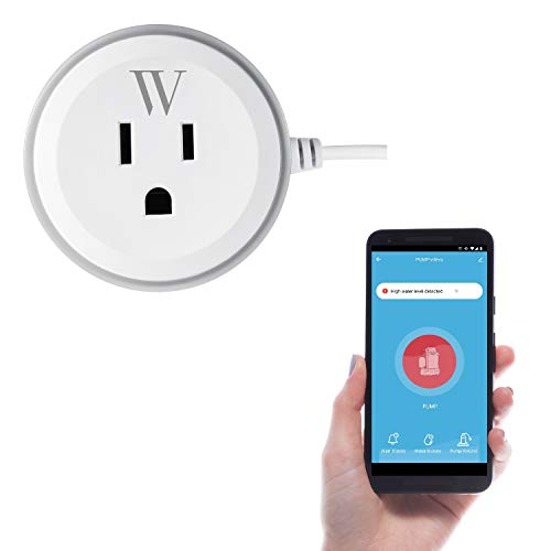 Wasserstein Smart Plug Outlet with High Water Level Sensor for Sump Pump - Alarm and App Notification Alerts, Simple Plug and Play Socket
