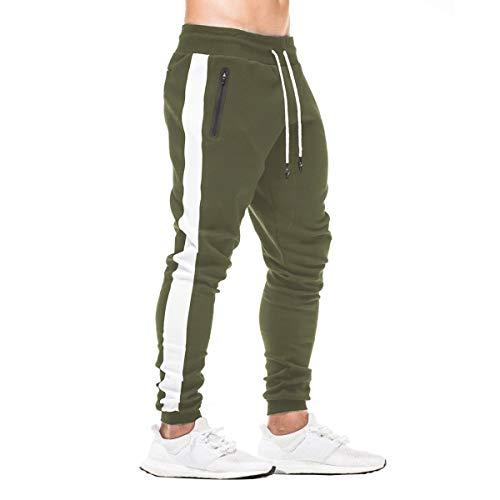 FEDTOSING Herren Jogginghose Fitness Sporthose Baumwolle Slime Fit Hose Joggers Streetwear Freizeithose Laufen Trainningshose Oliv L