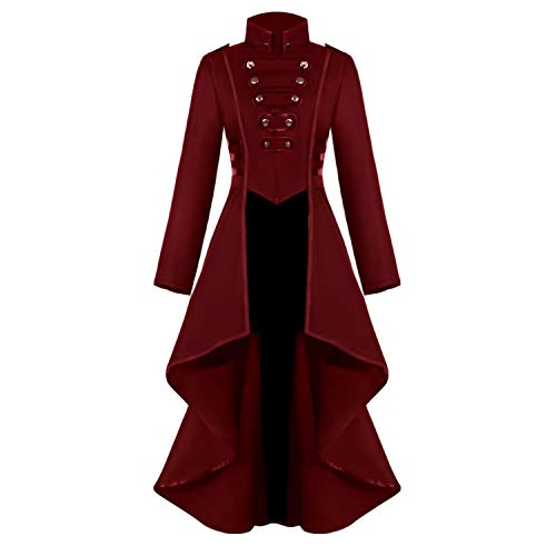 Renaissance Steampunk Tailcoat Halloween Costumes for Women, Victorian Medieval Pirate Vampire Gothic Jacket Dress Viking Coats (S, Red)