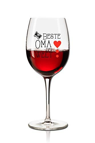 PorcelainSite Geschenkideen GmbH Lustiges Weinglas 360ml - Beste Oma der Welt