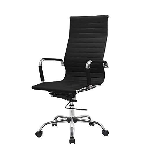 SXNYLY -Alta a Oficina Apoyo for la Cabeza y la funcion de la Ayuda Lumbar Silla Silla Juego de inclinacion sillas giratorias Sala de tareas de Escritorio (Blanco) (Color : Negro)