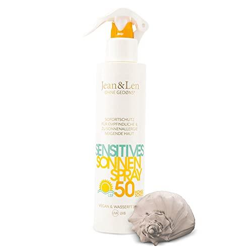 Jean & Len Sonnencreme 50 LSF wasserfest, 100% veganes Sonnen-Spray ohne Silikone, Parabene und Nanopartikel, Sonnenschutz für Allergiker & sensitive Haut, Sprühflasche, 250 ml
