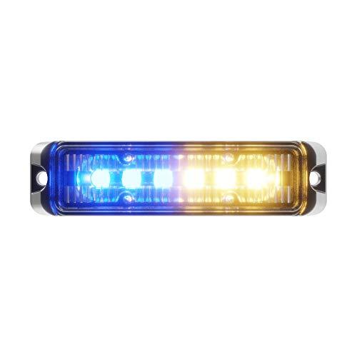 Abrams MFG Flex Serie 18W - 6 LED Noodvoertuig Truck LED Grille Licht Hoofd Oppervlak Mount Strobe Waarschuwing Licht, Amber/Blauw, 0,09 kg