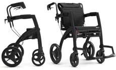 新品 送料無料 Rollz Motion 2-in-1 rollator 売買 and Transport Matt Sm Black Chair