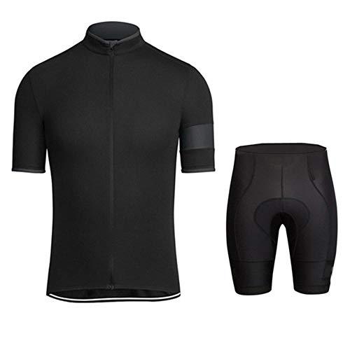 HXTSWGS Trikot Kurzarm Radhose mit Sitzpolster für Radsport,Fahrradbekleidung Sets/Atmungsaktive Männer Fahrrad tragen Sommer Kurzarm Radtrikots Sets-A02_M