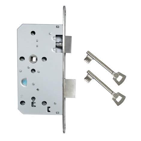 FELGNER Tür-Einsteckschloss Buntbart für Zimmertüren | Schlosskasten aus verzinktem Blech + Edelstahl Schließblech | Dornmaß 55mm - Din Links und rechts - Nuss 8mm - 2 Schlüssel | Entfernung 72mm