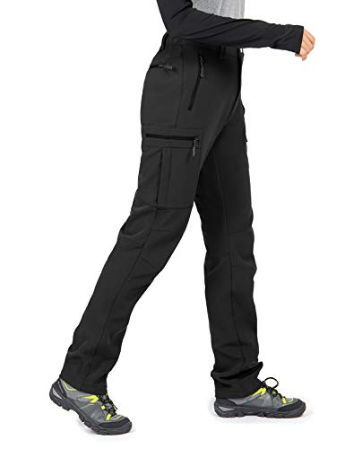 Wespornow Women's-Fleece-Lined-Hiking-Pants Snow-Ski-Pants Water-Resistance-Outdoor-Softshell-Insulated-Pants for Winter (Black, Medium)