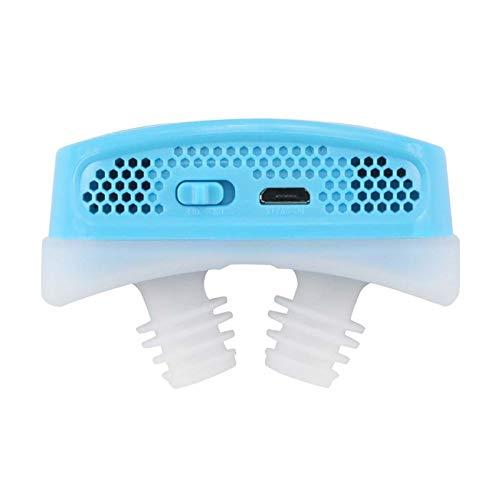 Sin efectos secundarios reutilizables Respirador nasal electrónico ronquido de hemostasis Dilatador nasal APnea Ayuda Dispositivo Deja de ronquido Equipo Aliviar la congestión nasal ( Color : BLUE )