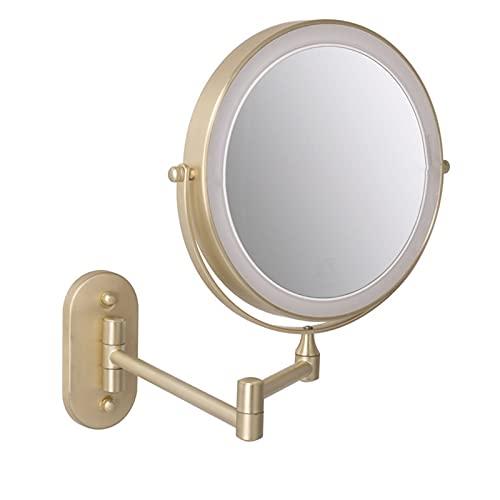 WYYUE Espejo De Maquillaje Montado En La Pared, Espejo Cosmético De Doble Cara De 8'', Espejo De Aumento 5X / 10x, Rotación De 360 Grados, Luz De 3 Colores y Carga USB para Baño De Hotel