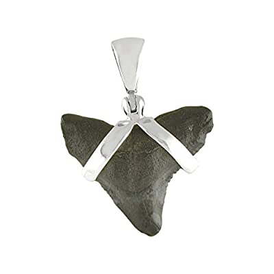 Starborn Sterling Silver Black Fossil Shark Tooth Pendant