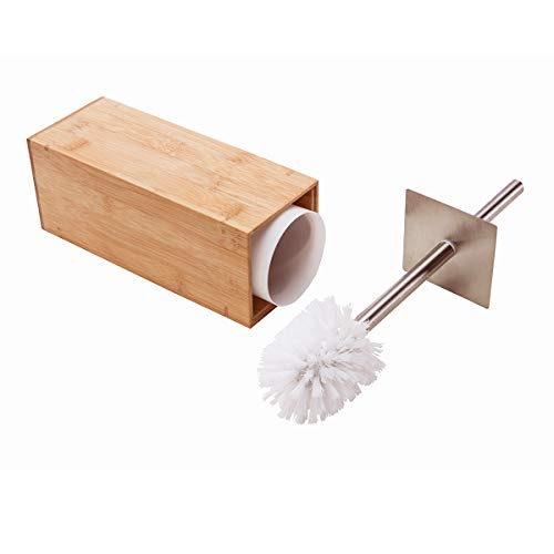 GOBAM Toilet Brush and Holder Stainless Steel Handle and Lid for All Toilet Types with Sanitary Storage,Bamboo (Natural)