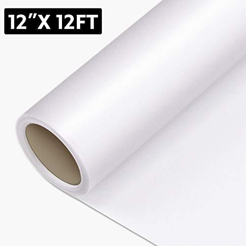 Wärmetransfer-Vinyl – 3,6 x 3,6 m zum Aufbügeln, für Cricut & Silhouette Cameo, strapazierfähige HTV Vinyl-Rolle für DIY, T-Shirts, Kleidung, leicht zu schneiden (weiß)
