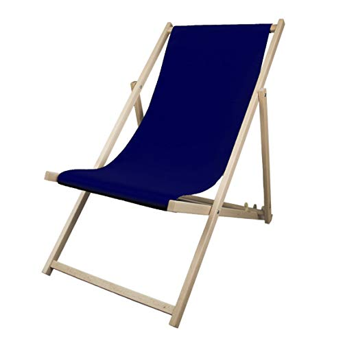 Iyom Wood Sling Chair, Outdoor Folding Adjustable Beach Patio Chair with Canvas, Ergonomic Wooden Deck Chair Back Rest Chair for Living Room Balcony Courtyard Garden