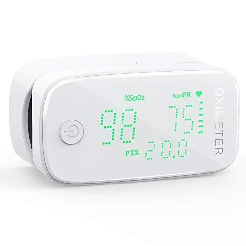 Oxímetro de Pulso KKmier Oximetro Dedo, Oximetro 3 en 1 con Profesional Pantalla LED Para Medir SpO2, PR, PI,SpO2 Frecuencia Cardíaca Precisa
