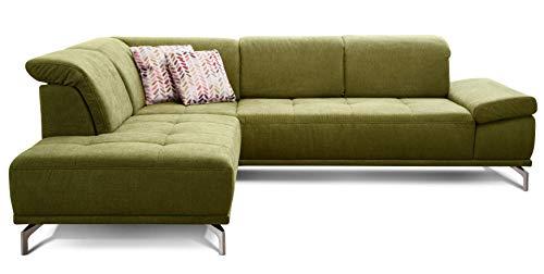 Cavadore Ecksofa Carly mit Federkern, Sitztiefe und Kopfstütze verstellbar im Design, 273 x 81 x 234, Webstoff grün