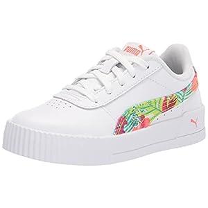 PUMA Women's Carina Sneaker, White-Georgia Peach, 8.5