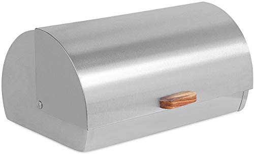 Internet's Best Stainless Steel Bread Box - Kitchen Food Storage Container - Metal Bread Holder - Roll Top (Silver)