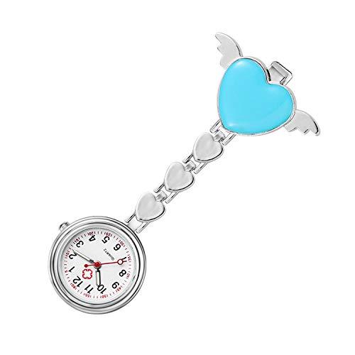 Cxypeng Reloj Médico Reloj de Broche,Estudiante Retro Nocturno examina el Cofre, Reloj de Bolsillo de Enfermera de Color Amor-CC,Colgante Enfermera Prendedor Reloj