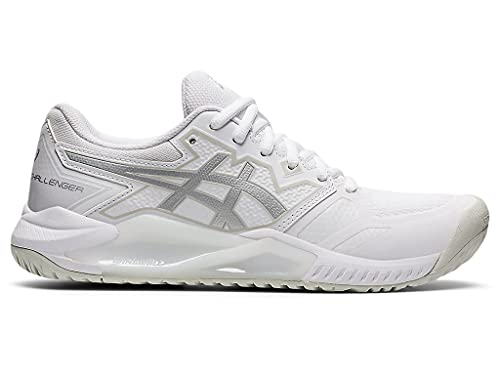 ASICS Women's Gel-Challenger 13 Tennis Shoes, 9, White/Pure Silver