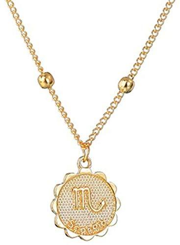 Yaoliangliang Collar de Doce horóscopo para Mujer, Colgante de Oro, Collar del Zodiaco, Cadena Leo, 12 Constelaciones, Regalo de joyería de cumpleaños