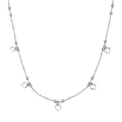 Pori Jewelers 925 Sterling Silver Italian Heart Charm Chain Choker Necklace for Women - 13