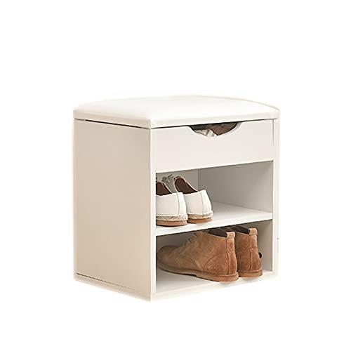 OMKMNOE Gabinete De Zapatos con Cojín De Asiento, Estante De Zapatos Blanco con Espacio De Almacenamiento Banco De Zapatos De Simplicidad Moderna con Asiento para Sala De Estar,Blanco