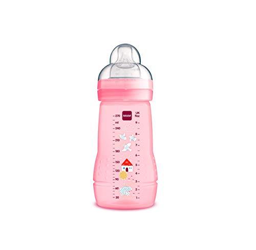 MAM Biberón Easy Active Baby Bottle A132 - Biberón con Tetina de Silicona Skinsofttm Ultra Suave, para Bebés a Partir de 2 Meses, Rosa, Esterilizable, 270Ml