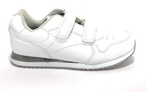 DEMAX Deportivos COLEGIAL Velcro con LUZ - Niños Color Blanco Talla 34