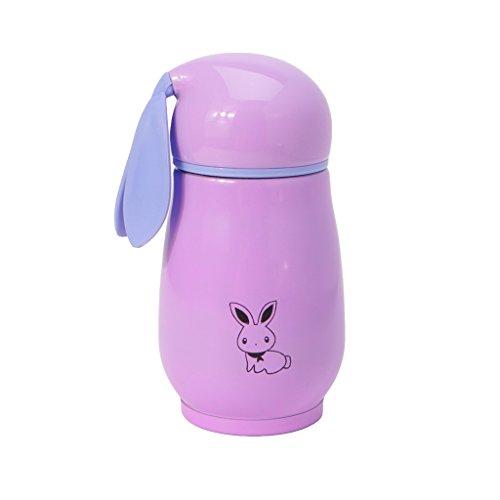 llwei258 Mooie konijnen-thermosfles-roestvrijstalen zuignap-flessen-beker-kinderdrankjes roze (pink)