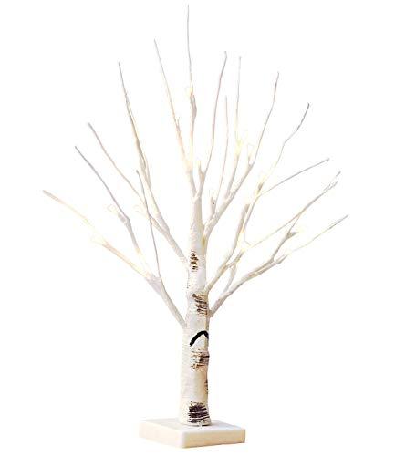 Leisont-Christmas luces de árbol led 18 faros abedul blanco cálidos linternas decorativas Blanco positivo