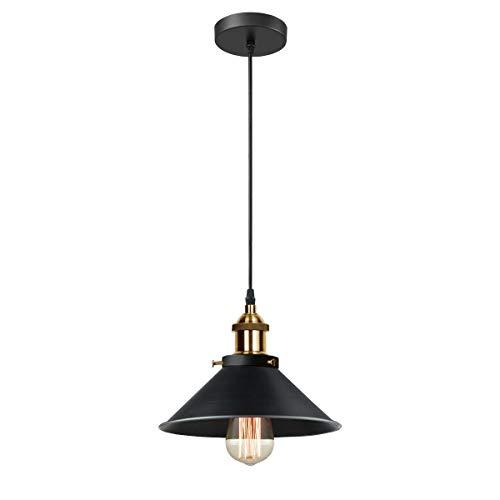 iDEGU Lámpara de techo retro industrial estilo Edison E27 Iluminación colgante de metal, diámetro de 22 cm, negro