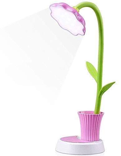 Lámpara para niños, creativa lámpara de escritorio recargable LED con protección ocular sensor táctil lámpara de mesa regulable con soporte para bolígrafo (rosa)