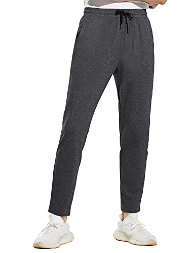 BALEAF Men's Cotton Jogger Sweatpants Comfortable Tapered Running Pants Pockets Training Workout Casual Charcoal L