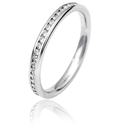9ct White Gold 2.5mm Full Channel Set Diamond Court Wedding Ring WG5/2.5R125 9W HSI-L