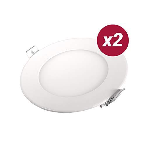 POPP- (Pack x 2 )downlight led Placa LED redondo.6W luz calida chip OSRAM,(3000K, 6W)[Clase de eficiencia energética A+]