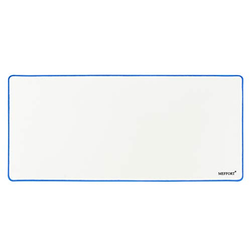 Meffort Inc Extra Large Extended XXL XXLG Gaming Desk Mat Non-Slip Rubber Pads Stitched Edges Mouse Pad 35.4 x 15.7 inch - White with Blue Edges