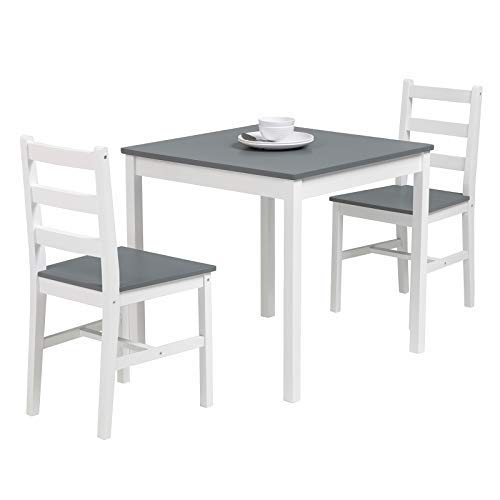 mecor 3 PC Wood Kitchen Dining Table Set, Solid Wood Square Table with 2 Chairs for Kitchen Dining Room Furniture(Grey)