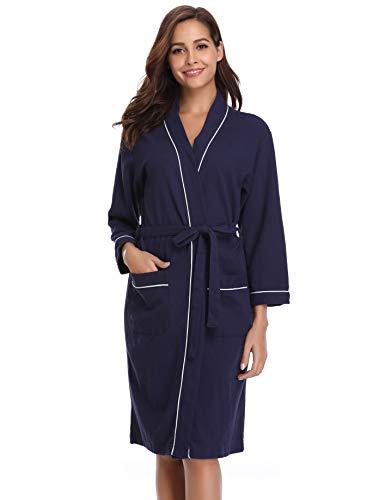 Vlazom Damen Bademantel Langarm Baumwolle Leicht Morgenmantel Waffel Sleepwear Mit V Kragen Kimono Saunamantel Robe(XXL,Dunkelblau-Style A)