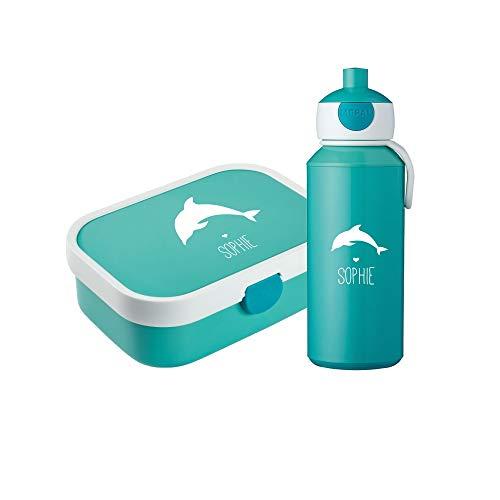 4you Design Set ☀Brotdose & Trinkflasche Delfin Silhouette☀ Mepal Campus inkl. Bento Box & Gabel - Einschulung - Kinder ☀6 Farben (Türkis)