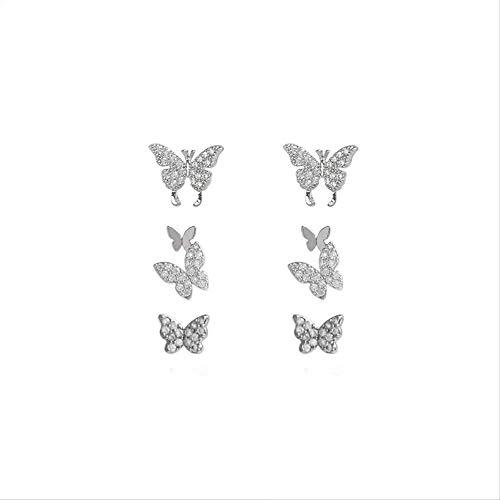 Zircon mariposa pendientes para las mujeres lindo falso piercing Punk Declaración Clip en pendientes joyería de moda auriculares
