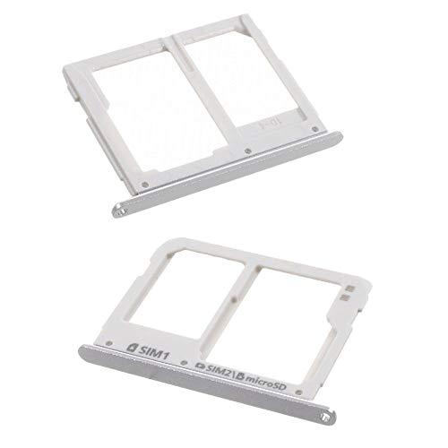 jbTec SD-Card/Dual SIM-Tray/Halter passend für Samsung Galaxy A3/A5/A7 2016 - Slot Karte Schlitten Rahmen Holder Handy, Farbe:Silber