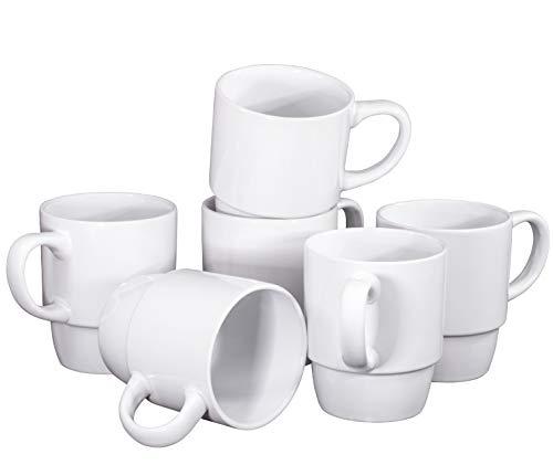 Ceramic Stacking Coffee Mug Tea Cup Dishwasher Safe Set of 6 - Large 18 Ounce, White