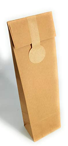 15 Bolsas kraft para botella de vino con etiqueta de cierre