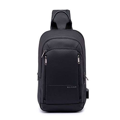 FANDARE Zaino Monospalla Uomo Borsello da Uomo con USB Borsa a Tracolla Borsa Outdoor Sportiva Sling Bag Affari Ciclismo Viaggio Grande Capacità Crossbody Bag Impermeabile Poliestere Nero A