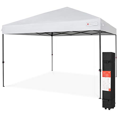 Best Choice Products 10x10ft Easy Setup Pop Up Canopy Instant Portable Tent w/ 1-Button Push, Wheeled Carry Case - White