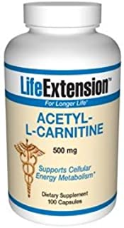 Life Extension Acetyl L-carnitine 500 mg 100 Vegetarian Capsules
