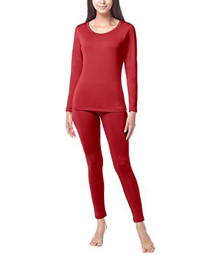 LAPASA Damen Innenfleece Thermounterwäsche Set -Funktionsunterwäsche Skiunterwäsche für Winter L17&L41&L138 MEHRWEG, Farbe Rot, Size JP LL (US M)