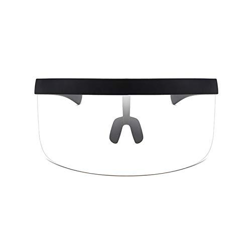 Gafas de sol con visera de gran tamaño, visera futurista, parte superior plana, espejo mono, protector de media cara